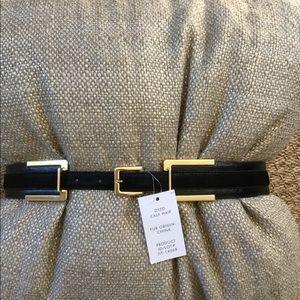 Ann Taylor NWT Leather Calf Hair Belt M/L